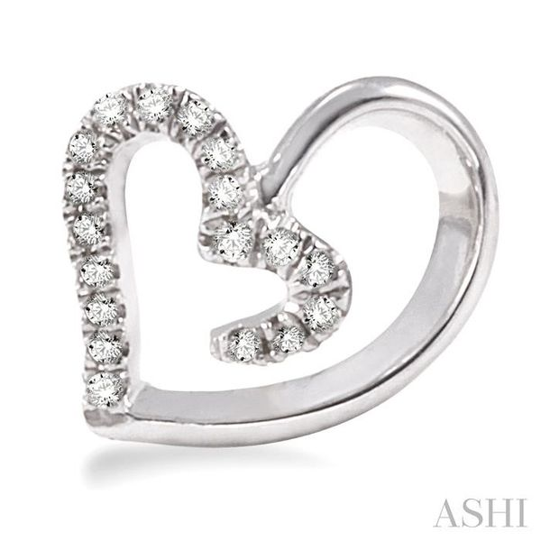 1/10 Ctw Round Cut Diamond Heart Shape Earrings in 14K White Gold Image 2 Trinity Diamonds Inc. Tucson, AZ