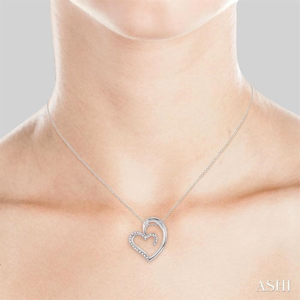 1/10 Ctw Round Cut Diamond Heart Shape Pendant in 14K White Gold with Chain Image 4 Trinity Diamonds Inc. Tucson, AZ
