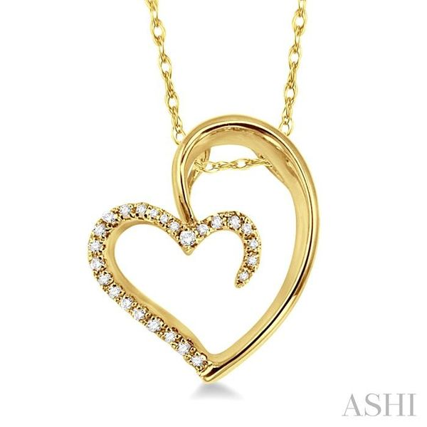 1/10 Ctw Round Cut Diamond Heart Shape Pendant in 14K Yellow Gold with Chain Trinity Diamonds Inc. Tucson, AZ
