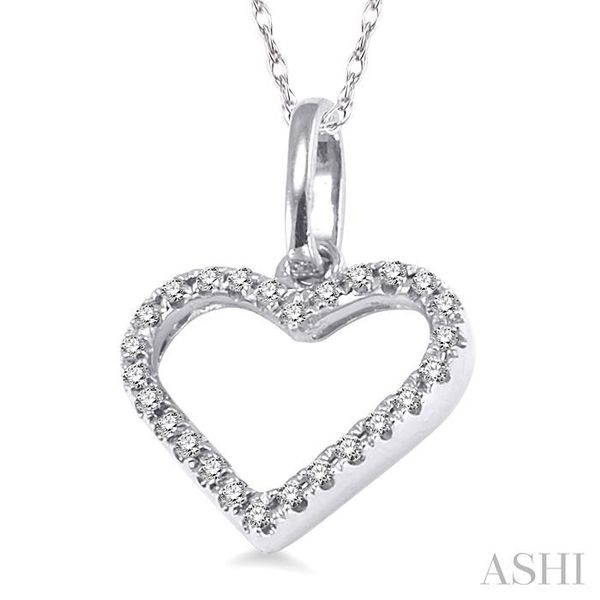 1/10 Ctw Round Cut Diamond Heart Shape Pendant in 14K White Gold with Chain Image 2 Trinity Diamonds Inc. Tucson, AZ