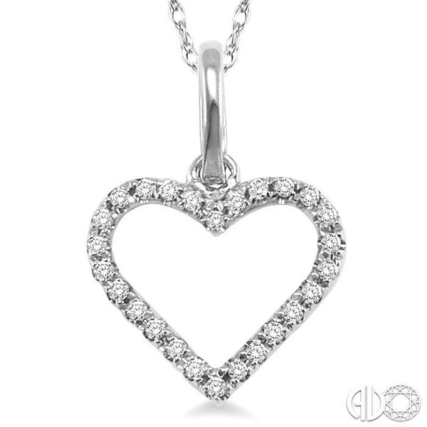 1/10 Ctw Round Cut Diamond Heart Shape Pendant in 14K White Gold with Chain Image 3 Trinity Diamonds Inc. Tucson, AZ