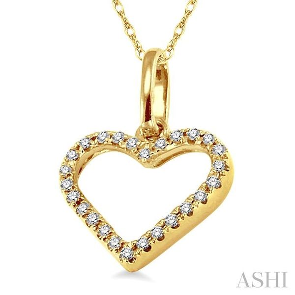 1/10 Ctw Round Cut Diamond Heart Shape Pendant in 14K Yellow Gold with Chain Image 2 Trinity Diamonds Inc. Tucson, AZ
