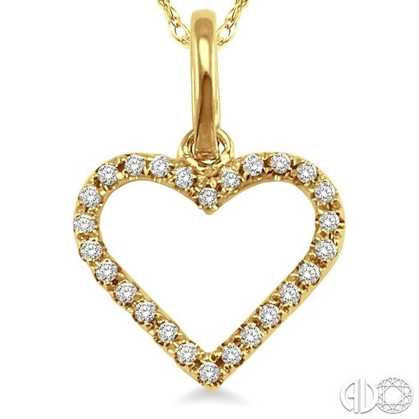 1/10 Ctw Round Cut Diamond Heart Shape Pendant in 14K Yellow Gold with Chain Image 3 Trinity Diamonds Inc. Tucson, AZ