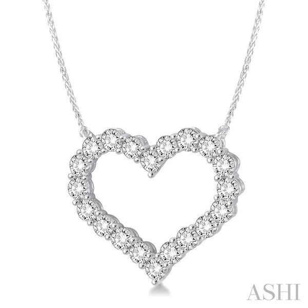 2 Ctw Round Cut Diamond Heart Necklace in 14K white Gold Image 2 Trinity Diamonds Inc. Tucson, AZ