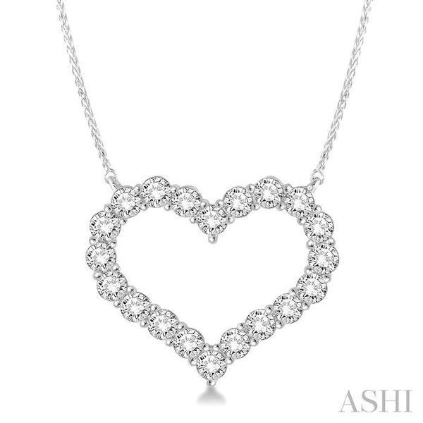 2 Ctw Round Cut Diamond Heart Necklace in 14K white Gold Trinity Diamonds Inc. Tucson, AZ