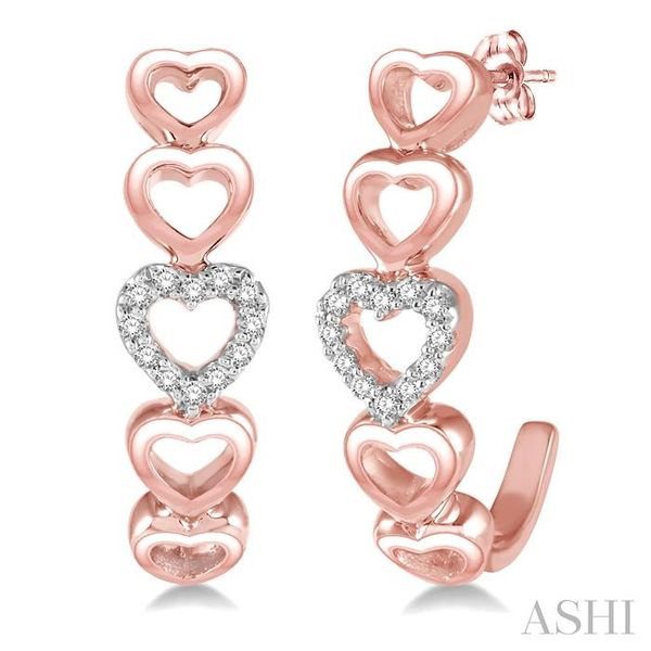 1/10 Ctw Five Heart Union Round Cut Diamond Stud Earrings in 10K Rose Gold Trinity Diamonds Inc. Tucson, AZ