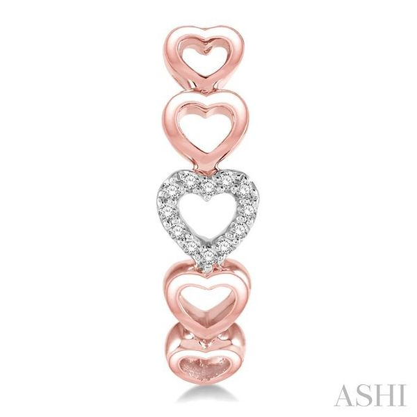 1/10 Ctw Five Heart Union Round Cut Diamond Stud Earrings in 10K Rose Gold Image 2 Trinity Diamonds Inc. Tucson, AZ