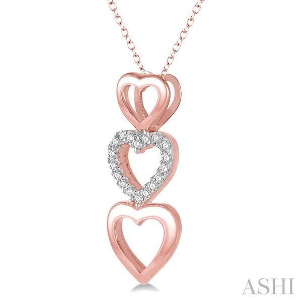 1/20 Ctw Triple Heart Link Round Cut Diamond Pendant With Link Chain in 10K Rose Gold Image 2 Trinity Diamonds Inc. Tucson, AZ
