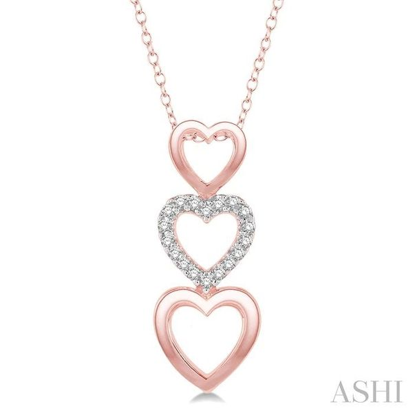1/20 Ctw Triple Heart Link Round Cut Diamond Pendant With Link Chain in 10K Rose Gold Trinity Diamonds Inc. Tucson, AZ