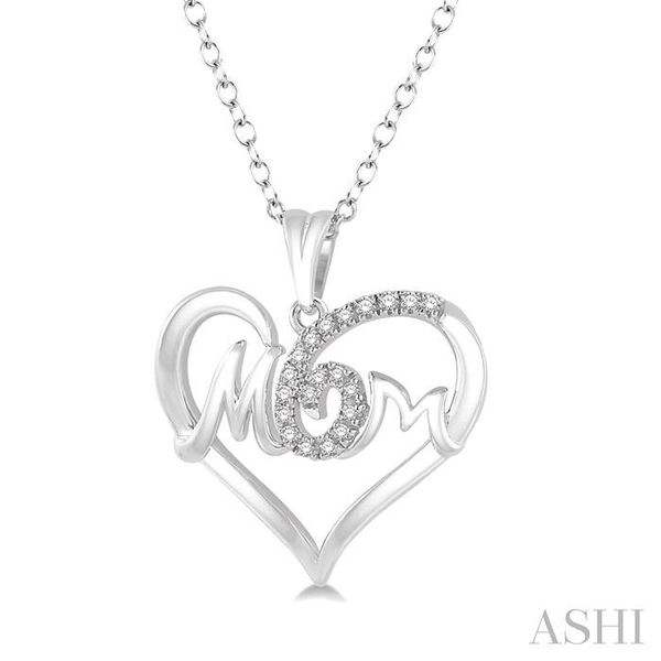 1/20 Ctw MOM Cutout Heart Round Cut Diamond Pendant With Link Chain in 10K White Gold Image 2 Trinity Diamonds Inc. Tucson, AZ