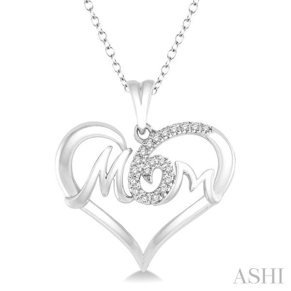 1/20 Ctw MOM Cutout Heart Round Cut Diamond Pendant With Link Chain in 10K White Gold Trinity Diamonds Inc. Tucson, AZ
