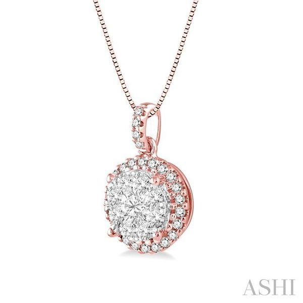 1/2 Ctw Lovebright Round Cut Diamond Pendant in 14K Rose and White Gold with Chain Image 2 Trinity Diamonds Inc. Tucson, AZ