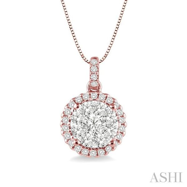 1/2 Ctw Lovebright Round Cut Diamond Pendant in 14K Rose and White Gold with Chain Trinity Diamonds Inc. Tucson, AZ