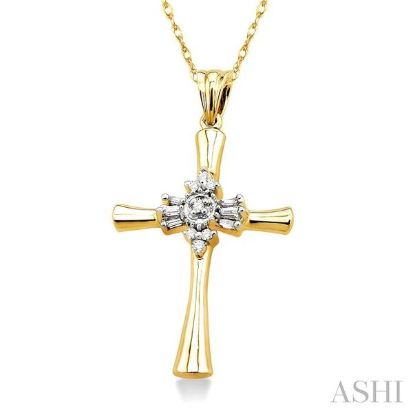 1/6 Ctw Baguette and Round Cut Diamond Cross Pendant in 10K Yellow Gold with Chain Image 2 Trinity Diamonds Inc. Tucson, AZ