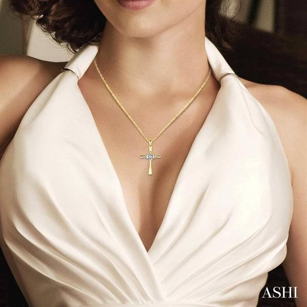 1/6 Ctw Baguette and Round Cut Diamond Cross Pendant in 10K Yellow Gold with Chain Image 4 Trinity Diamonds Inc. Tucson, AZ