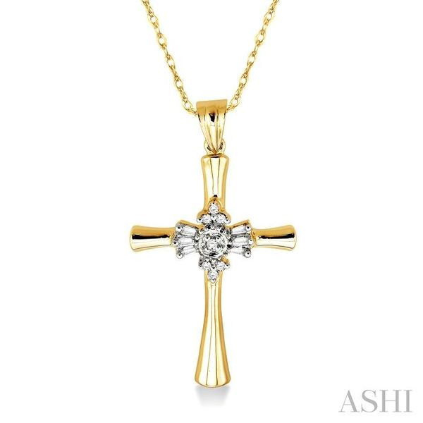 1/6 Ctw Baguette and Round Cut Diamond Cross Pendant in 10K Yellow Gold with Chain Trinity Diamonds Inc. Tucson, AZ