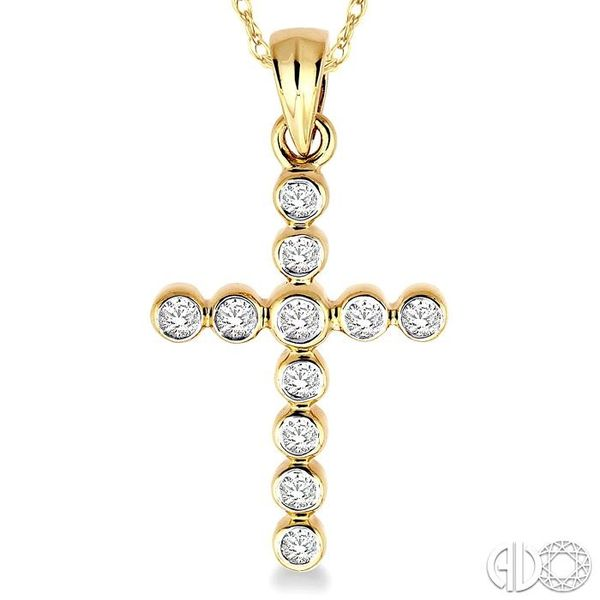 1/4 Ctw Round Cut Diamond Cross Pendant in 14K Yellow Gold with Chain Image 3 Trinity Diamonds Inc. Tucson, AZ