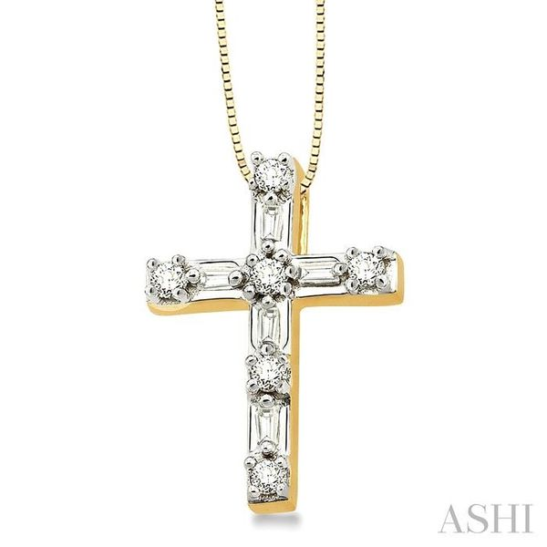 1/4 Ctw Diamond Cross Pendant in 14K Yellow Gold with chain Image 2 Trinity Diamonds Inc. Tucson, AZ