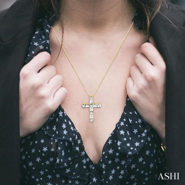 1/4 Ctw Diamond Cross Pendant in 14K Yellow Gold with chain Image 4 Trinity Diamonds Inc. Tucson, AZ