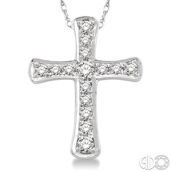 1/10 Ctw Round Cut Diamond Cross Pendant in 14K White Gold with Chain Image 3 Trinity Diamonds Inc. Tucson, AZ