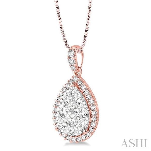 1 1/2 Ctw Pear Shape Diamond Lovebright Pendant in 14K Rose and White Gold with Chain Image 2 Trinity Diamonds Inc. Tucson, AZ