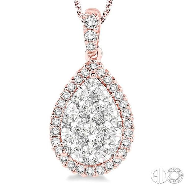 1 1/2 Ctw Pear Shape Diamond Lovebright Pendant in 14K Rose and White Gold with Chain Image 3 Trinity Diamonds Inc. Tucson, AZ