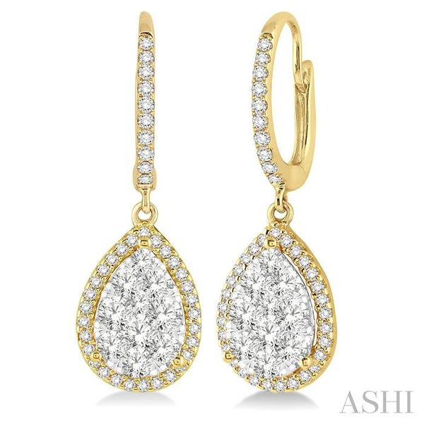 1 Ctw Pear Shape Diamond Lovebright Earrings in 14K Yellow and White Gold Trinity Diamonds Inc. Tucson, AZ