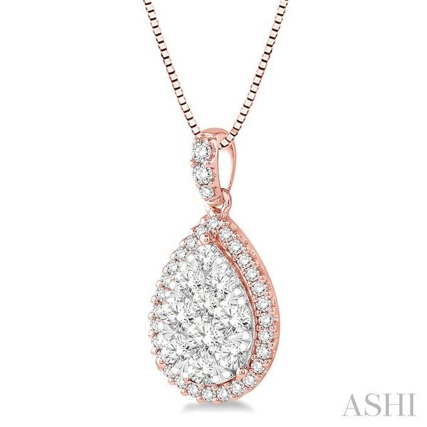 1 Ctw Pear Shape Diamond Lovebright Pendant in 14K Rose and White Gold with Chain Image 2 Trinity Diamonds Inc. Tucson, AZ