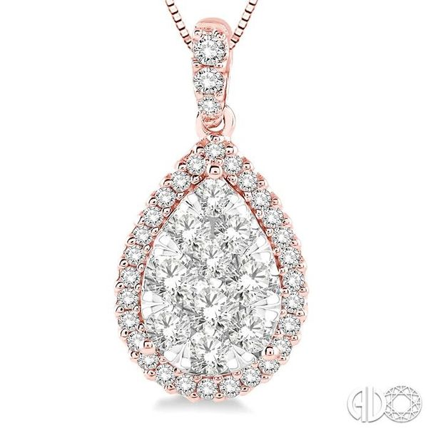 1 Ctw Pear Shape Diamond Lovebright Pendant in 14K Rose and White Gold with Chain Image 3 Trinity Diamonds Inc. Tucson, AZ