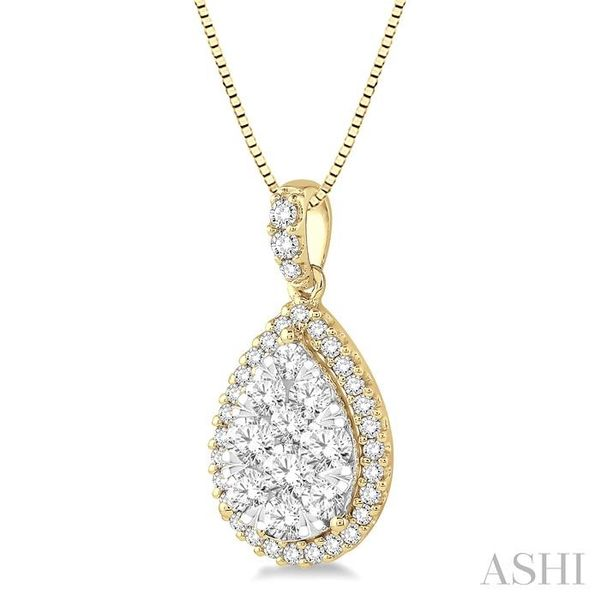 1 Ctw Pear Shape Diamond Lovebright Pendant in 14K Yellow and White Gold with Chain Image 2 Trinity Diamonds Inc. Tucson, AZ