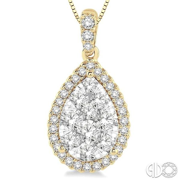 1 Ctw Pear Shape Diamond Lovebright Pendant in 14K Yellow and White Gold with Chain Image 3 Trinity Diamonds Inc. Tucson, AZ