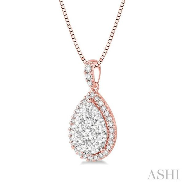 1/3 Ctw Pear Shape Diamond Lovebright Pendant in 14K Rose and White Gold with Chain Image 2 Trinity Diamonds Inc. Tucson, AZ