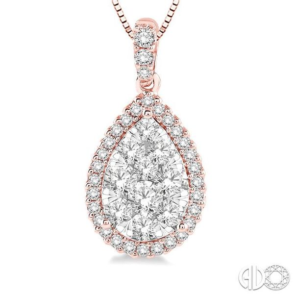 1/3 Ctw Pear Shape Diamond Lovebright Pendant in 14K Rose and White Gold with Chain Image 3 Trinity Diamonds Inc. Tucson, AZ