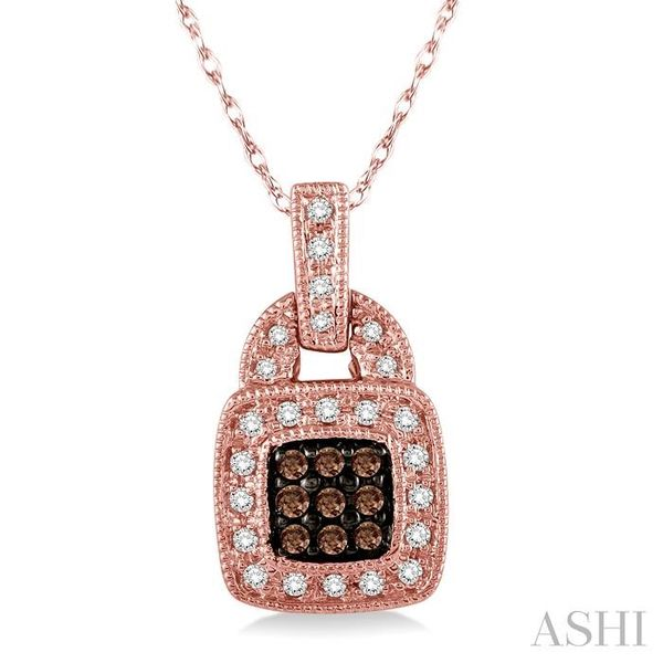 1/4 Ctw Round Cut White and Champagne Brown Diamond Pendant in 10K Rose Gold with Chain Trinity Diamonds Inc. Tucson, AZ