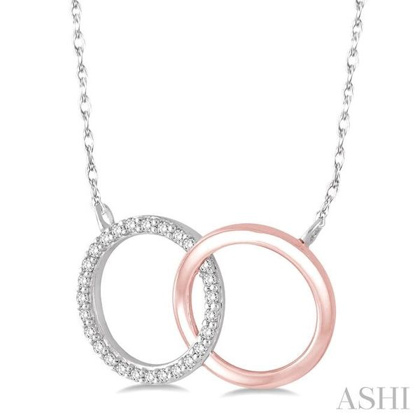 1/6 Ctw Round Cut Diamond Circle n Circle Pendant in 10K White and Rose Gold with Chain Image 2 Trinity Diamonds Inc. Tucson, AZ