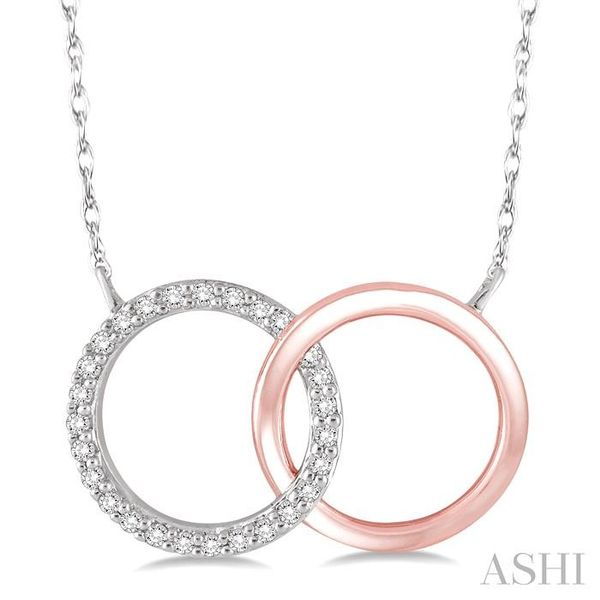 1/6 Ctw Round Cut Diamond Circle n Circle Pendant in 10K White and Rose Gold with Chain Trinity Diamonds Inc. Tucson, AZ