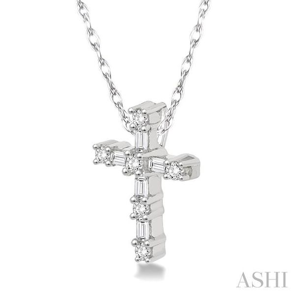 1/20 Ctw Round Cut Diamond Cross Pendant in 10K White Gold with Chain Image 2 Trinity Diamonds Inc. Tucson, AZ