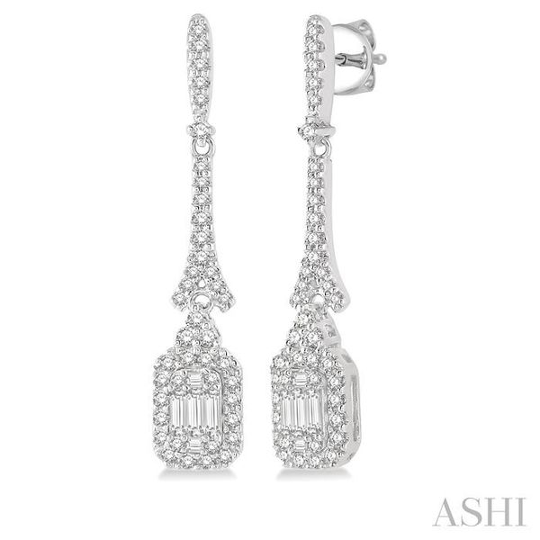 5/8 ctw Long Baguette & Round Cut Diamond Earring in 14K White Gold Trinity Diamonds Inc. Tucson, AZ
