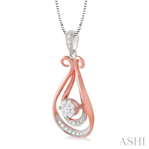 1/5 Ctw Lovebright Round Cut Diamond Pendant in 10K White and Rose Gold with Chain Image 2 Trinity Diamonds Inc. Tucson, AZ
