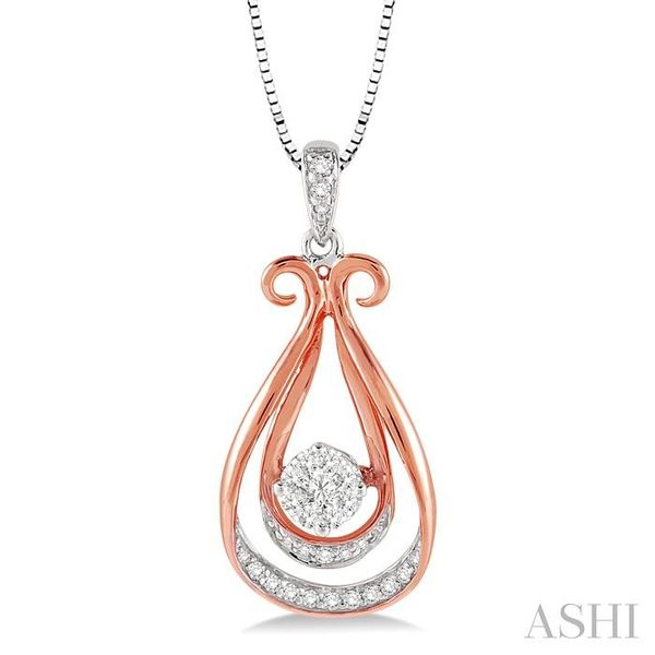 1/5 Ctw Lovebright Round Cut Diamond Pendant in 10K White and Rose Gold with Chain Trinity Diamonds Inc. Tucson, AZ