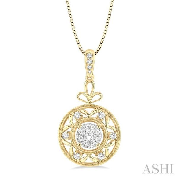1/2 Ctw Round Cut Diamond Lovebright Pendant in 14K Yellow and White Gold with Chain Trinity Diamonds Inc. Tucson, AZ