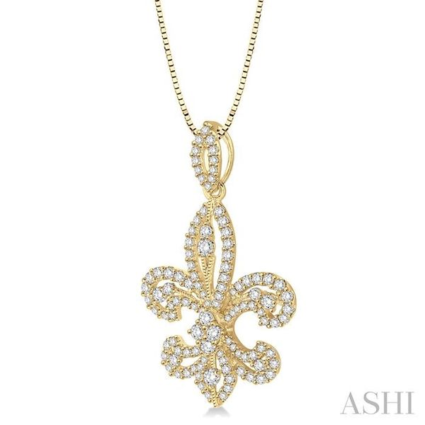 1 Ctw Round Cut Diamond Fleur De Lis Diamond Pendant in 14K Yellow Gold with Chain Image 2 Trinity Diamonds Inc. Tucson, AZ