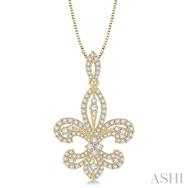 1 Ctw Round Cut Diamond Fleur De Lis Diamond Pendant in 14K Yellow Gold with Chain Trinity Diamonds Inc. Tucson, AZ