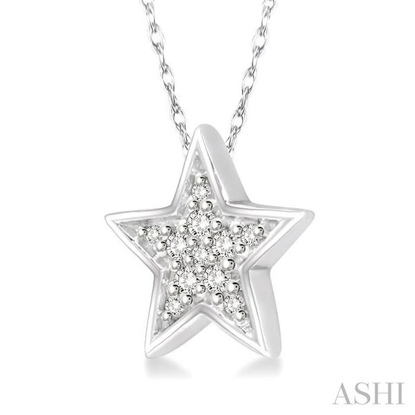 1/10 Ctw Star Cutout Round Cut Diamond Pendant With Link Chain in 10K White Gold Image 2 Trinity Diamonds Inc. Tucson, AZ