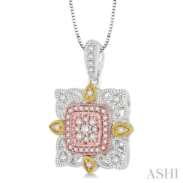 1/4 Ctw Square Shape Round Cut Diamond Pendant in 14K Tri Color Gold with Chain Image 2 Trinity Diamonds Inc. Tucson, AZ