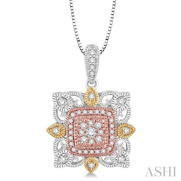 1/4 Ctw Square Shape Round Cut Diamond Pendant in 14K Tri Color Gold with Chain Trinity Diamonds Inc. Tucson, AZ