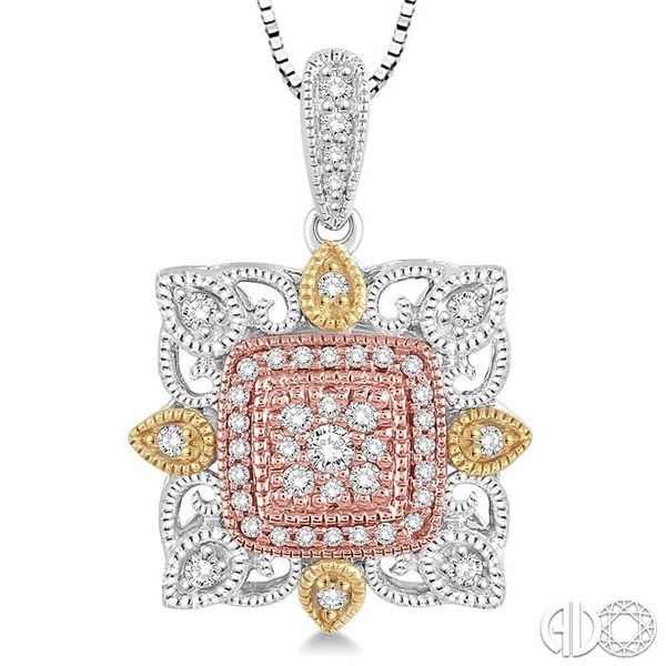 1/4 Ctw Square Shape Round Cut Diamond Pendant in 14K Tri Color Gold with Chain Image 3 Trinity Diamonds Inc. Tucson, AZ