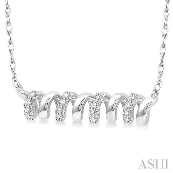 1/10 Ctw Spiral Round Cut Diamond Pendant With Link Chain in 10K White Gold Image 2 Trinity Diamonds Inc. Tucson, AZ