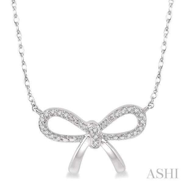 1/20 Ctw Bow Tie Round Cut Diamond Necklace in 10K White Gold Trinity Diamonds Inc. Tucson, AZ