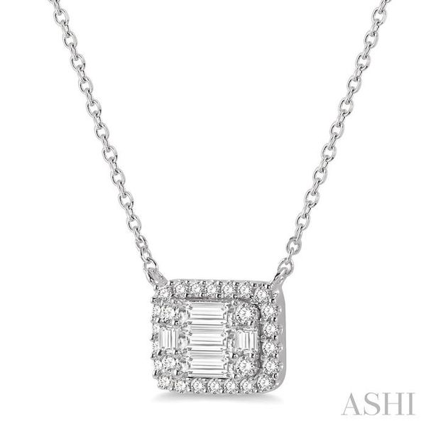 1/2 ctw Baguette and Round Cut Diamond Pendant Necklace in 14K White Gold Image 2 Trinity Diamonds Inc. Tucson, AZ